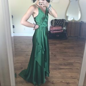 Bcbg Forrest green wrap gown